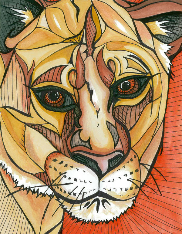 Lion Art Print featuring the painting Let The Lioness Arise by Amber Hadden