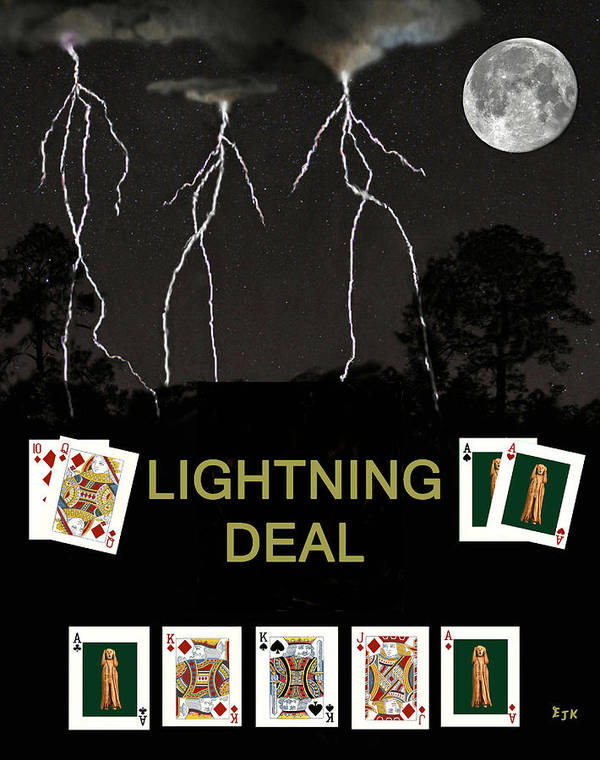 Lightning Deal Art Print featuring the mixed media Lightning Deal Poker Cards by Eric Kempson