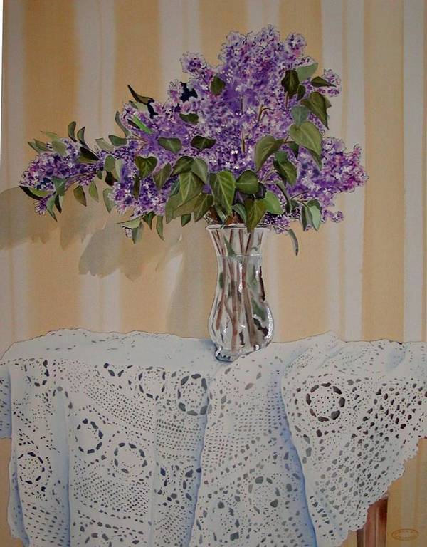 Original Watercolour Of Lilacs And Lace Art Print featuring the painting Lilacs And Lace by Sharon Steinhaus