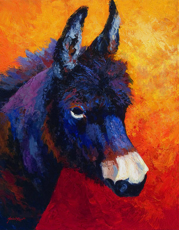 Burro Art Print featuring the painting Little Jack - Burro by Marion Rose