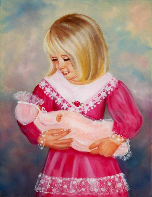 Child Art Print featuring the painting Little Mommy by Joni McPherson