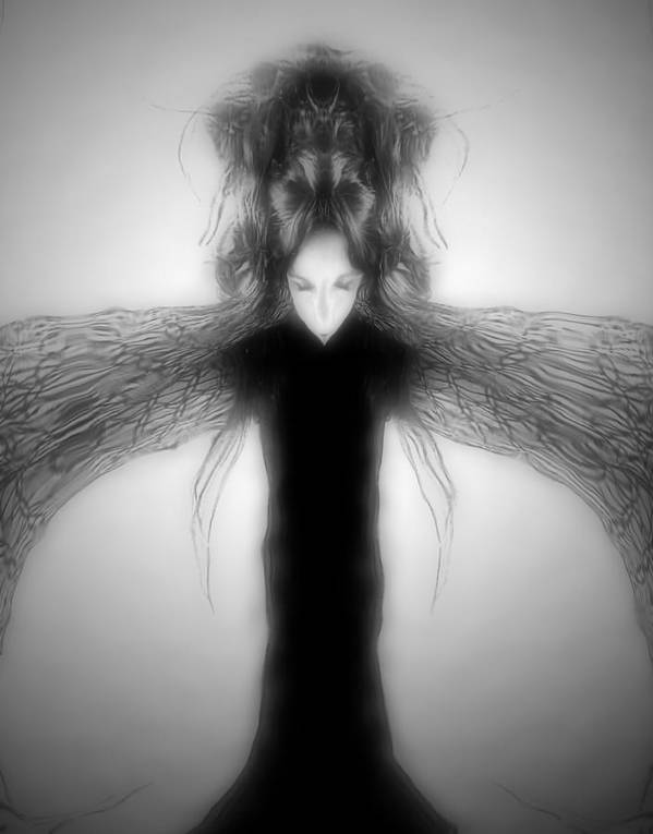 Gothic Art Print featuring the digital art Locust Girl by Heather King