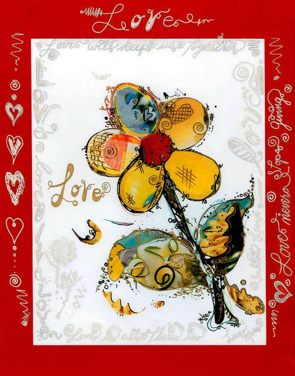 Flowers & Love Art Print featuring the mixed media Love by John Woodruff