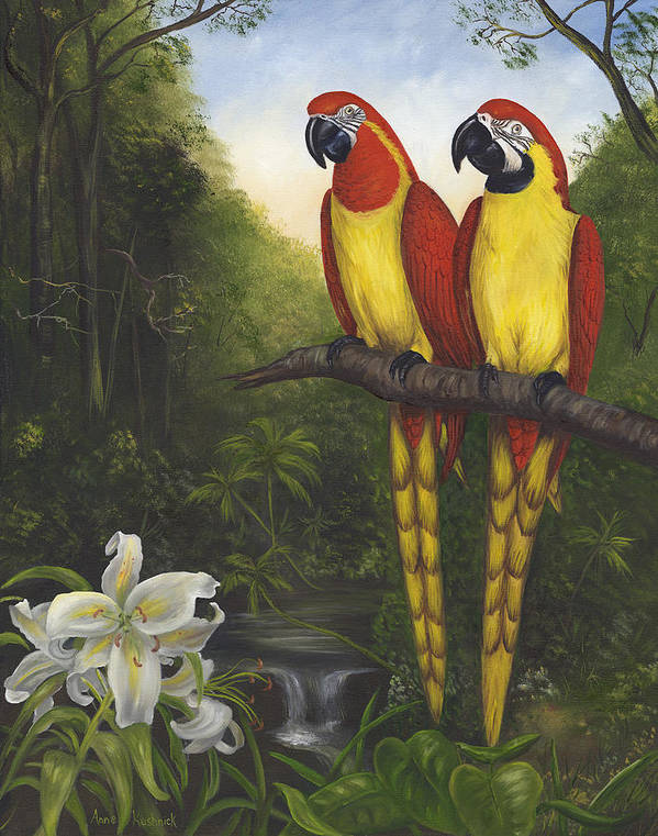 Landscape Art Print featuring the painting Macaws And Lillies by Anne Kushnick