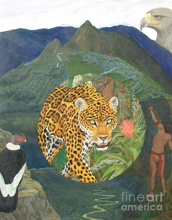 Jaguar Art Print featuring the painting Made In America by Juan Enrique Marquez