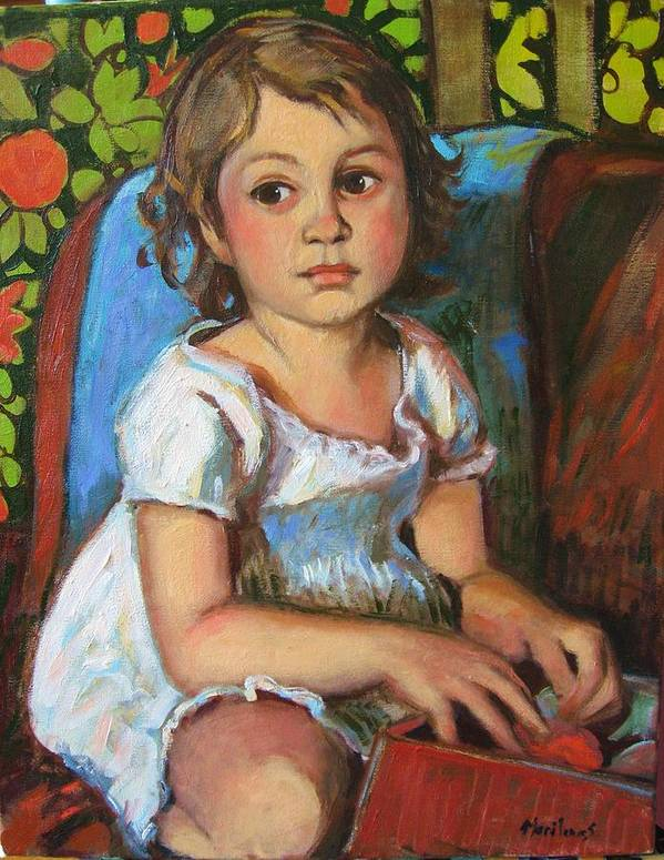 Portraits Art Print featuring the painting Madeline And The White Dress by Marilene Sawaf