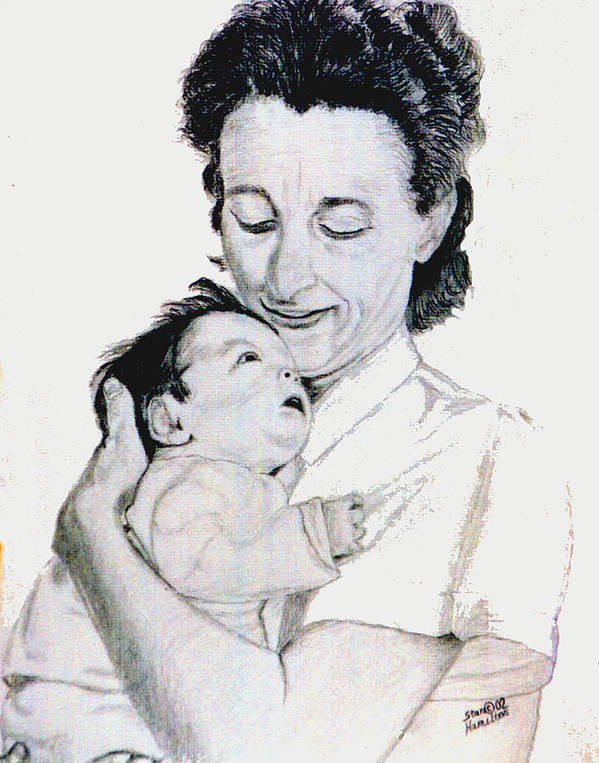 Madona Art Print featuring the drawing Madona And Baby by Stan Hamilton