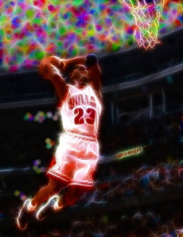 Michael Jordan Art Print featuring the painting Magical Michael Jordan White Jersey by Paul Van Scott