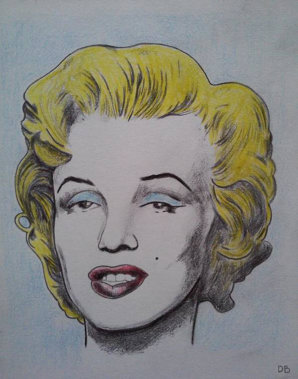 Art Print featuring the drawing Marlyn Monroe by David Bright