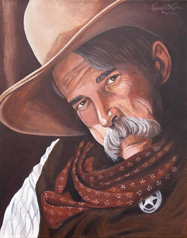 Cowboy Art Print featuring the painting Marshall Bill Speaks by Kenneth Kelsoe