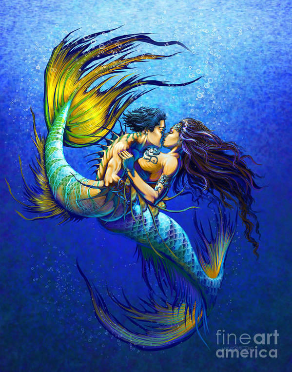 Mermaid Art Print featuring the painting Mermaid Kiss by Stanley Morrison