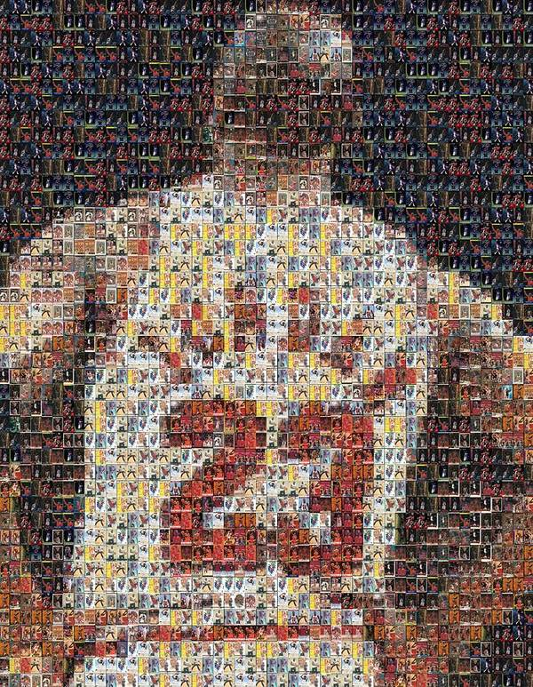 Michael Jordan Print featuring the mixed media Michael Jordan Card Mosaic 2 by Paul Van Scott