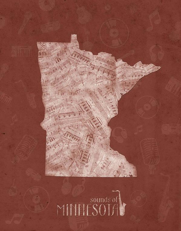 Minnesota Art Print featuring the digital art Minnesota Map Music Notes 4 by Bekim M