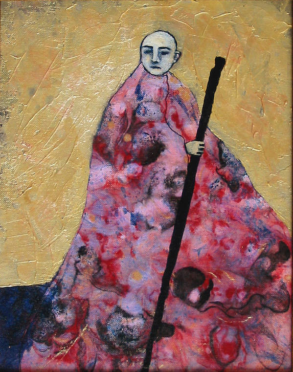 Gold Art Print featuring the painting Monk With Walking Stick by Pauline Lim