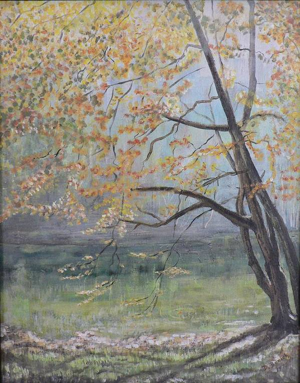 Trees In The Fall Art Print featuring the painting Morning Solitude by Dan Bozich