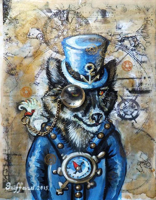 Sea Wolf Bird Parrot Compass Maps Ship Aged Page Coffee Stains Antique Vintage Studs Cogs Gears Watch Clock Marine Anchor Ocean Sea Traveler Top Hat Gray Blue Suit Captain Wheel Steampunk Victorian Era Olie Cannoli Griffard Anna Art Print featuring the painting Mr. Sea Wolf by Anna Griffard