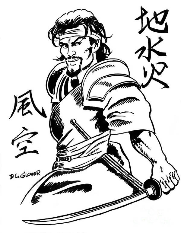 Tattoo Art Art Print featuring the drawing Musashi Samurai Tattoo by David Lloyd Glover