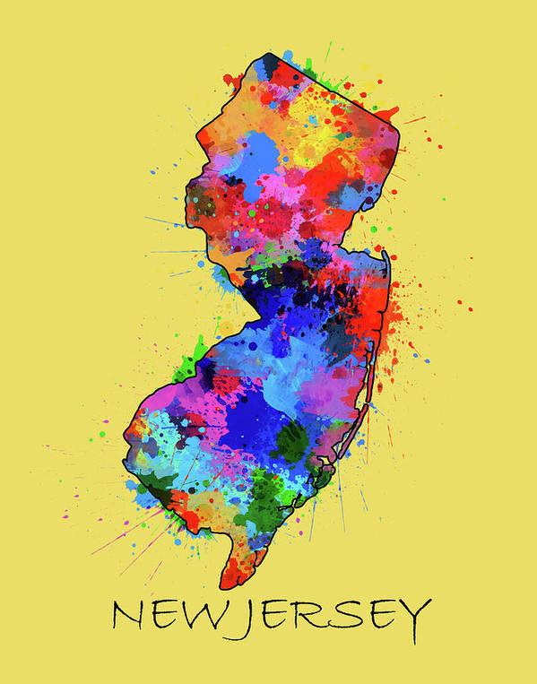 New Jersey Map Color Splatter 4 Art Print