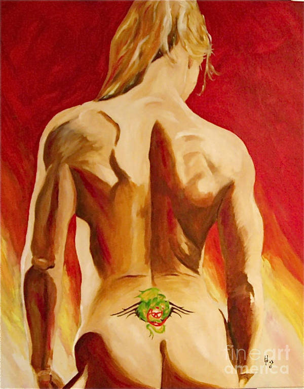 Nude Tatto Red Hot Art Print featuring the painting New Tattoo by Herschel Fall