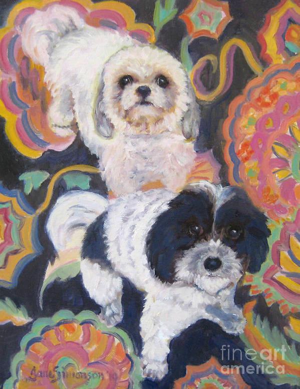 Dog Art Print featuring the painting Noah And Kobe by Jane Simonson