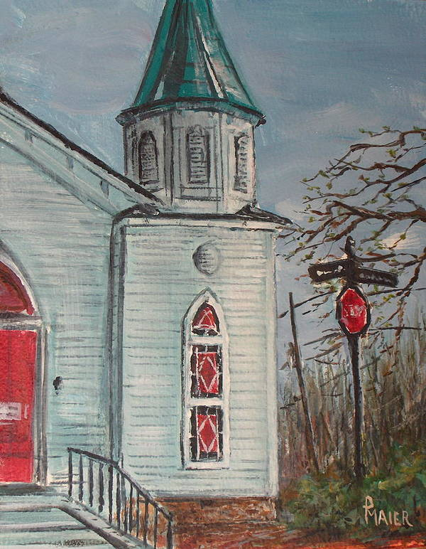 Church Art Print featuring the painting Nocross by Pete Maier