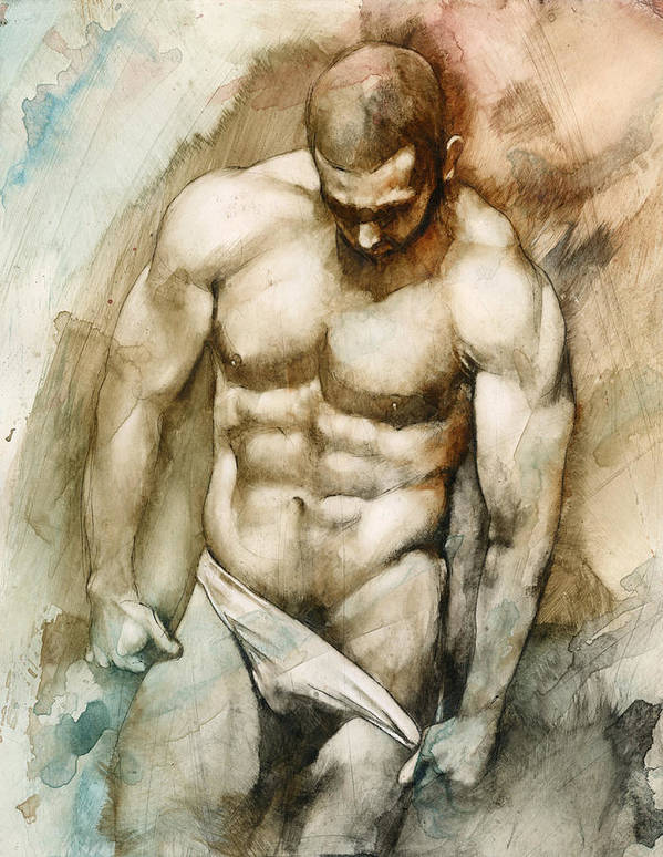 Male Art Print featuring the painting Nude 49 by Chris Lopez