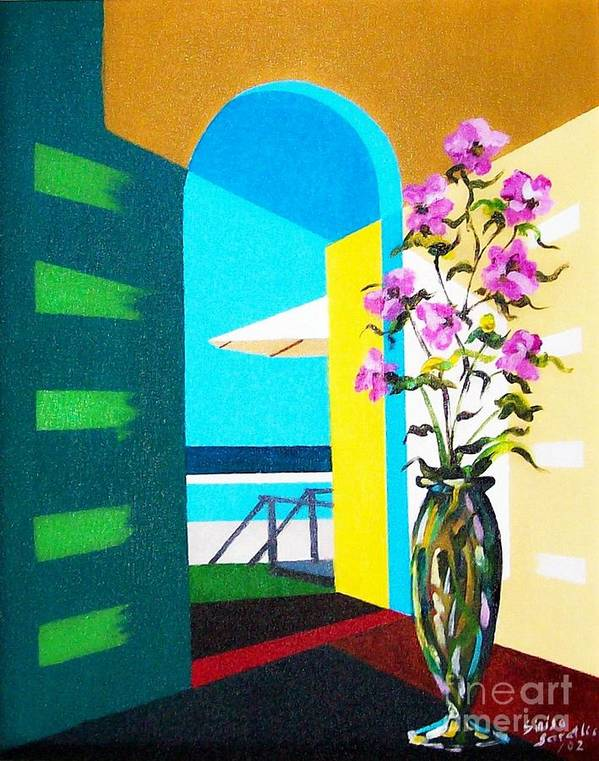 Still Life Art Print featuring the painting Ocean View by Sinisa Saratlic