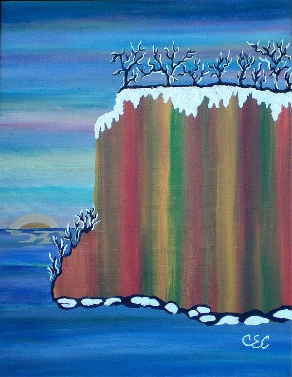 Snow Art Print featuring the painting October Snow by Carolyn Cable