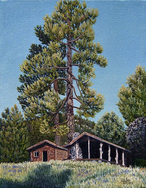 Landscape Pantings Art Print featuring the painting Old Cabin In The Pines by Jiji Lee