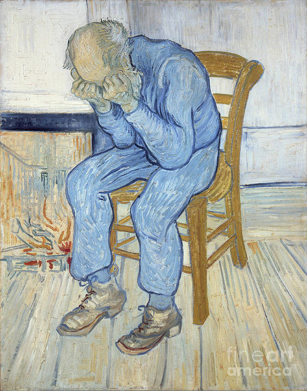 Male; Elderly; Seated; Head In Hands; Despair; Desperate Art Print featuring the painting Old Man In Sorrow by Vincent van Gogh