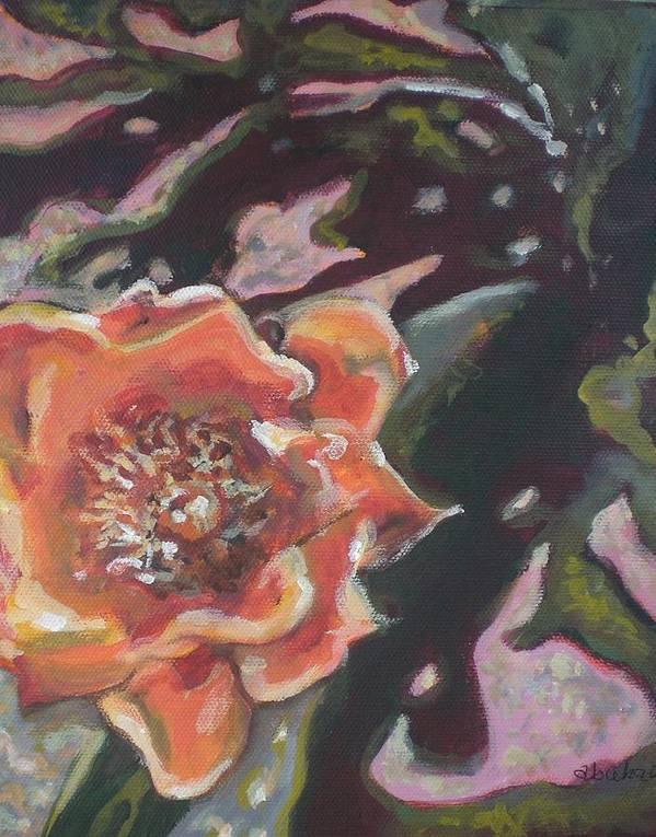 Orange Art Print featuring the painting Orange Cactus Blossom by Aleksandra Buha