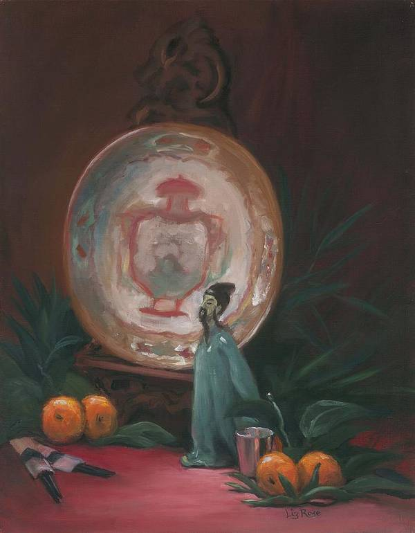 Still Life Art Print featuring the painting Oriental Plate by Liz Rose