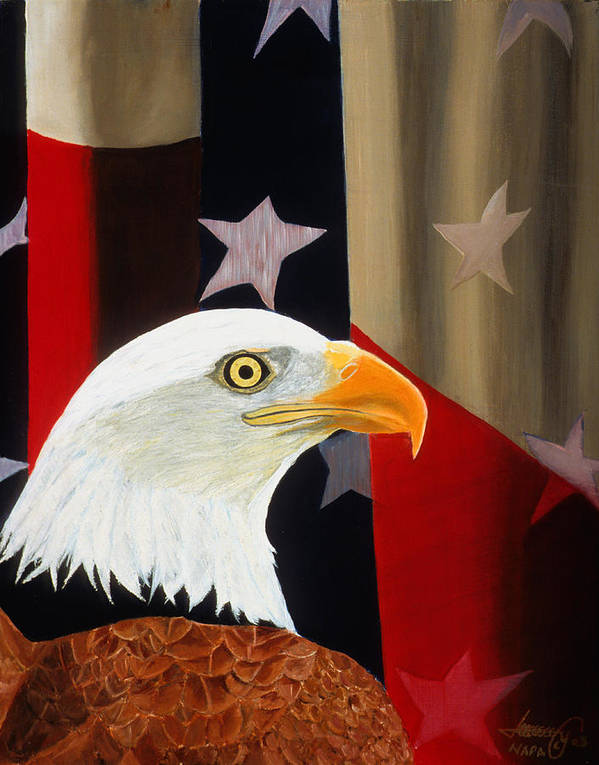 Patriotic Art Print featuring the painting Our Proud Bird by JoeRay Kelley