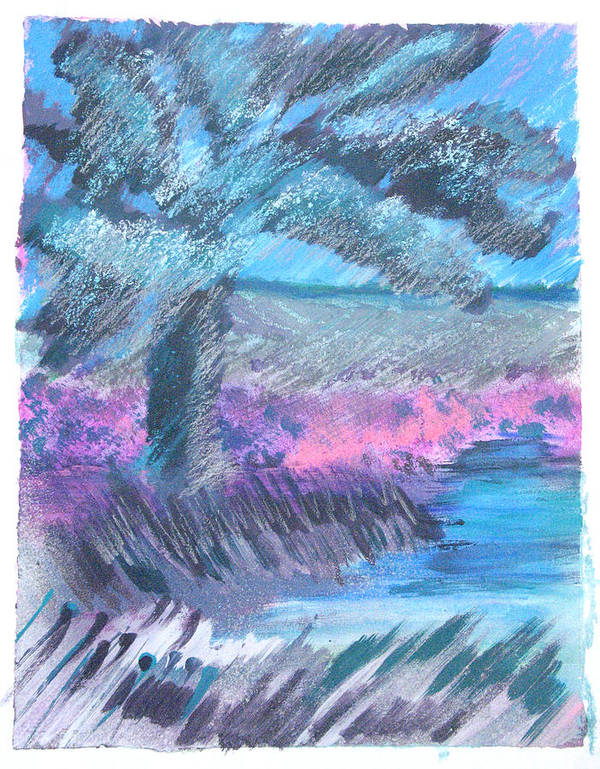 Art Print featuring the mixed media Palm Of The Night by Judy Loper