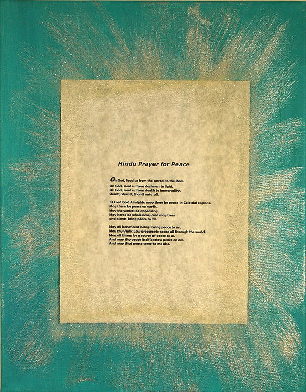 Peace Art Print featuring the painting Peace Prayers - Hindu Prayer For Peace by Emerald GreenForest