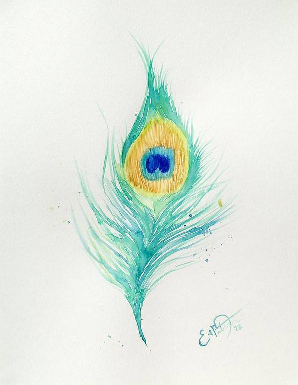 Peacock Art Print featuring the painting Peacock Feather 2 by Oddball Art Co by Lizzy Love