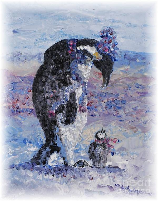 Penguins Winter Snow Blue Purple White Art Print featuring the painting Penguin Love by Nadine Rippelmeyer