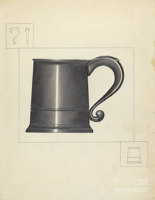 Art Print featuring the drawing Pewter Mug by Charlotte Winter