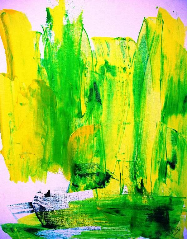 Yellow Art Print featuring the painting Phantom Yellow Daffodil Boat by Bruce Combs - REACH BEYOND