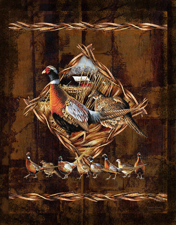 Wildlife Art Print featuring the painting Pheasant Lodge by JQ Licensing