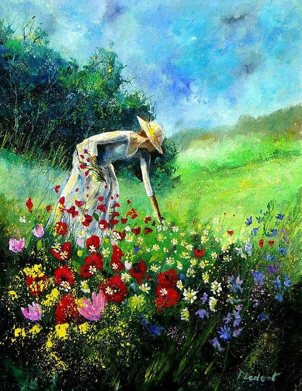 Poppies Art Print featuring the painting Picking Flower by Pol Ledent