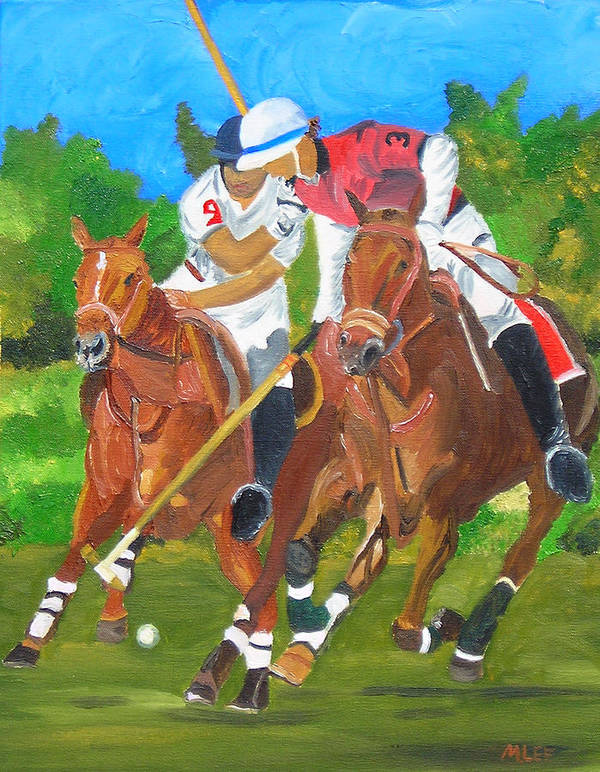 Polo Art Print featuring the painting Play In Motion by Michael Lee