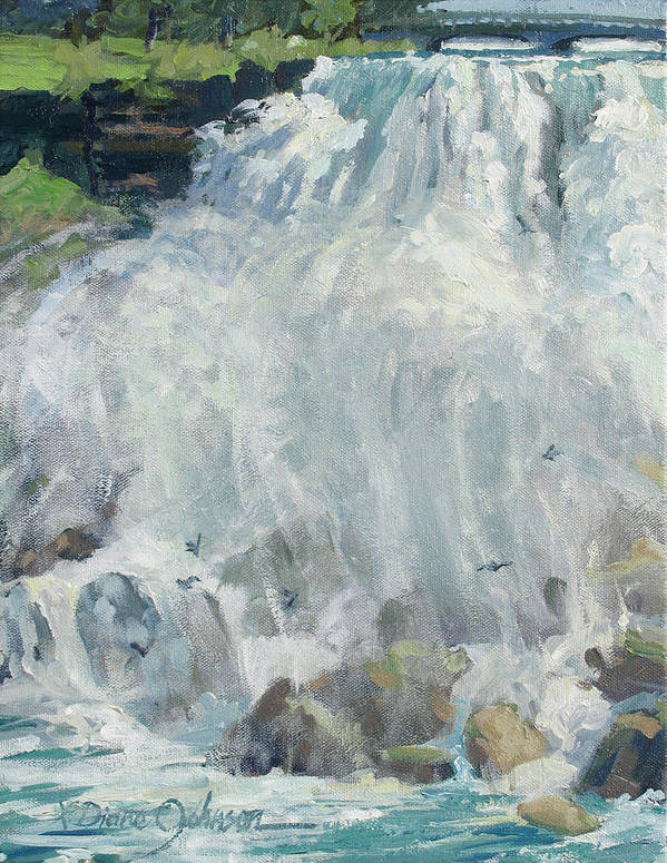 Niagara Falls Art Print featuring the painting Playing In The Mist - Niagara Falls by L Diane Johnson
