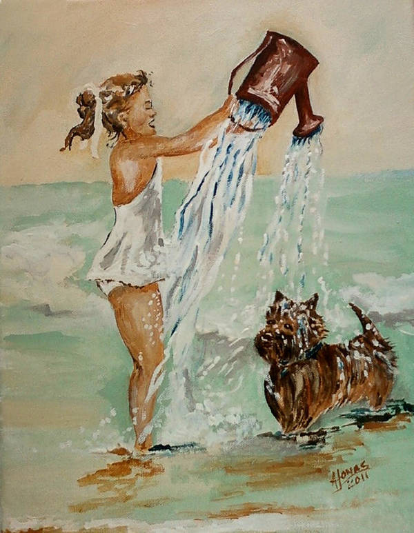Water Art Print featuring the painting Playing With Water by Amalia Jonas