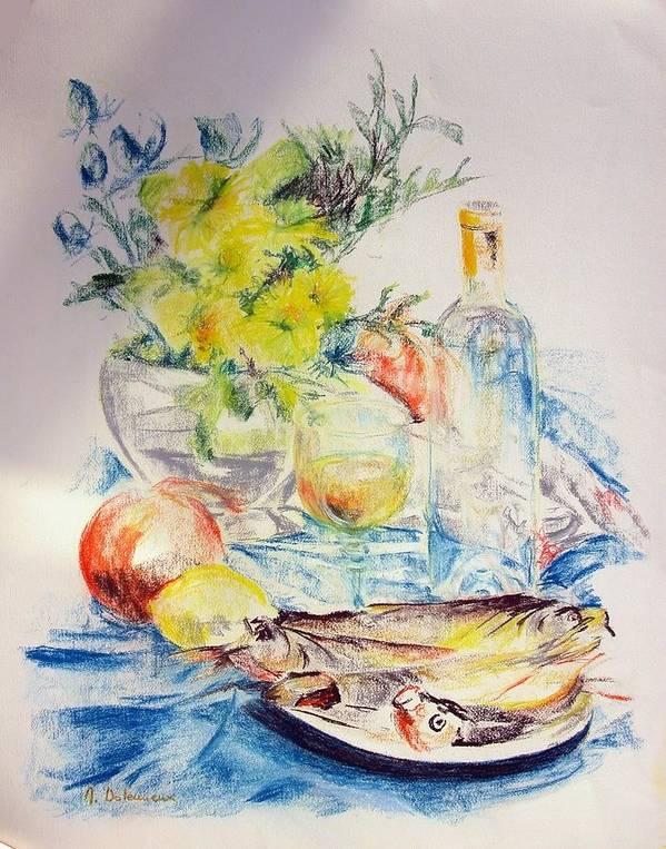 Still Life Art Print featuring the drawing Poissons by Muriel Dolemieux