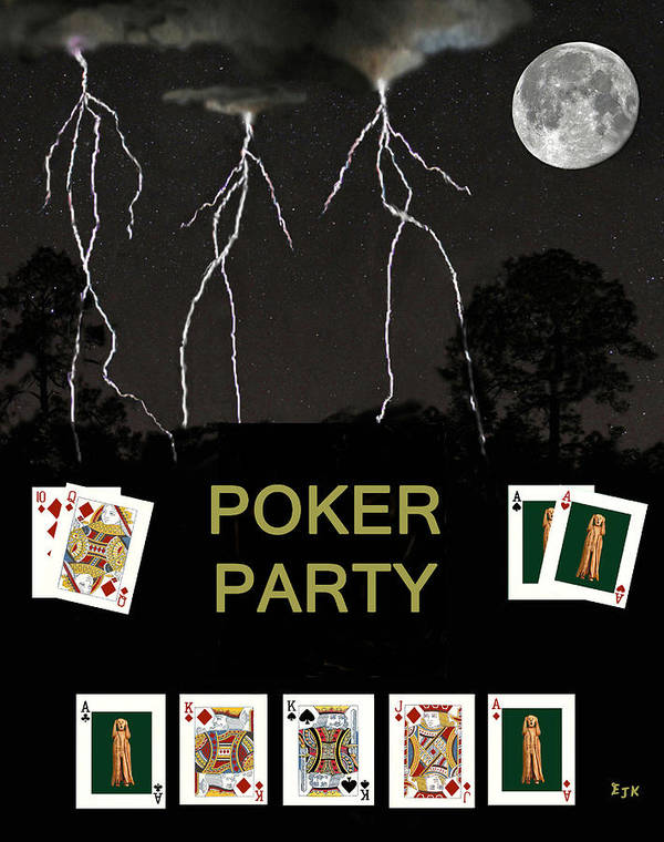 Poker Party Art Print featuring the mixed media Poker Party Poker Cards by Eric Kempson