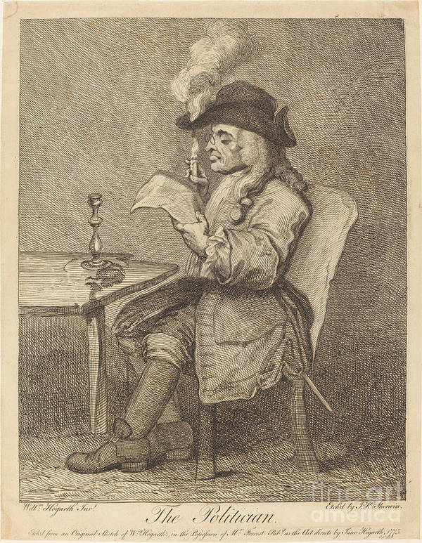 Art Print featuring the drawing Politician by John Keyse Sherwin After William Hogarth