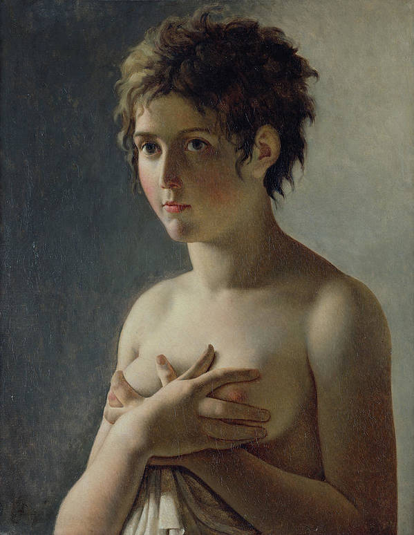 Bust; Breasts; Female; Semi-nude; Short Hair; Nude; Jeune Fille En Buste; Sensuality; Mystery Art Print featuring the painting Portrait Of A Young Girl by Baron Pierre Narcisse Guerin