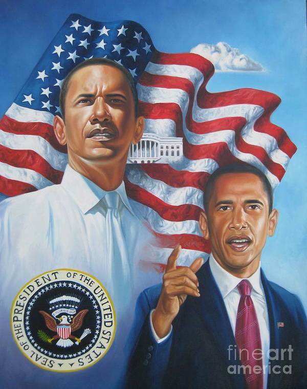Portrait Art Print featuring the painting President Barack Obama by Arnold Hurley