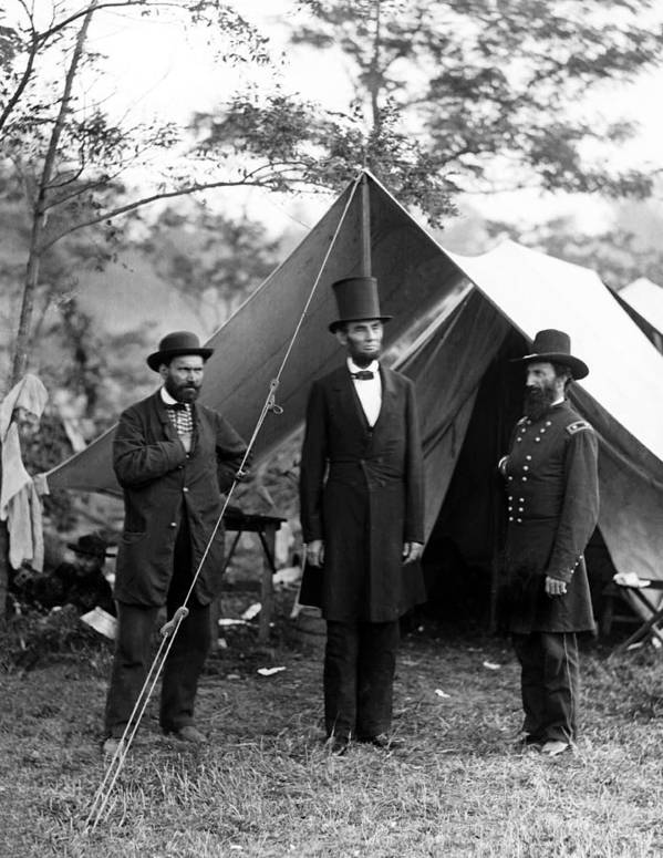 abraham Lincoln Art Print featuring the photograph President Lincoln Meets With Generals After Victory At Antietam by International Images